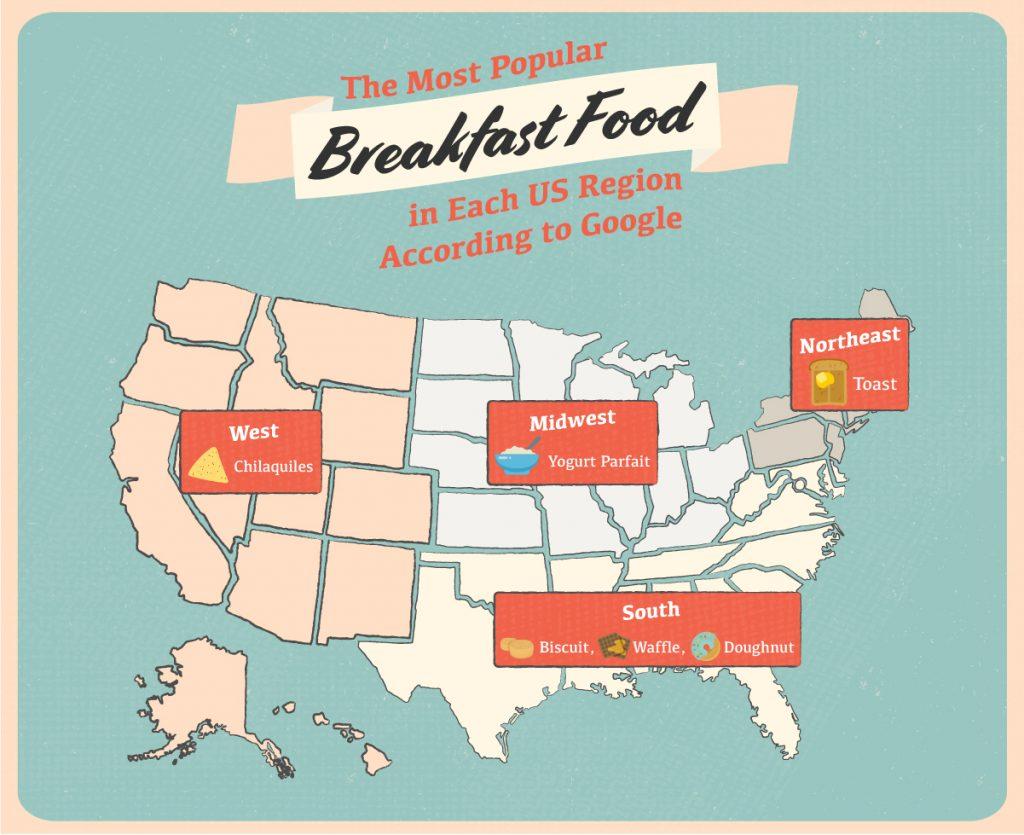 Most Popular Breakfast Items by Region Map